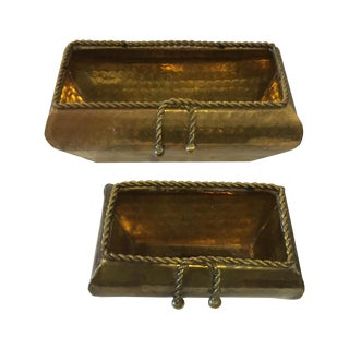 Brass Rope-Detailed Planters - A Pair