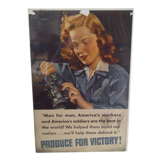 """""""American Worker"""" Vintage WWII Victory Poster"""