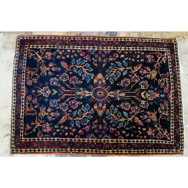 """Blue Persian Sarouk Rug Mat - 1'11"""" X 2'8"""" - Image 5 of 9"""
