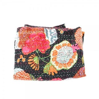 Black Floral Kantha Throw - Queen