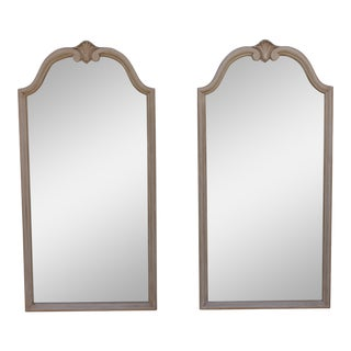 Traditional Off White Carved Wall Mirrors - A Pair