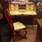 Image of Red & Yellow Hand Painted Italian Desk & Chair