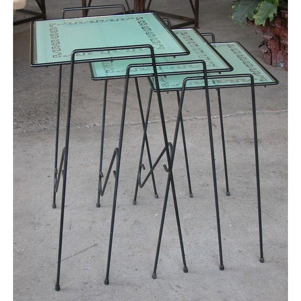 A Set of 3 American Wrought Iron Nesting Tables w/Glass Tops - Image 1 of 4