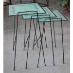 Image of A Set of 3 American Wrought Iron Nesting Tables w/Glass Tops