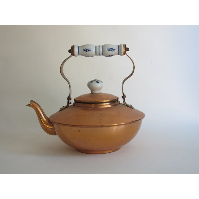 French Copper & Ceramic Teapot - Image 5 of 7