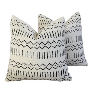 Boho-Chic Mali Mud Cloth Tribal Design Pattern Pillows - A Pair