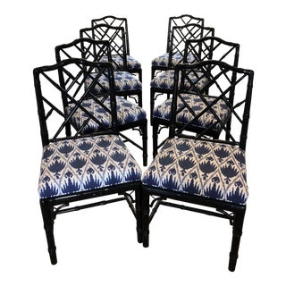 Blue Ikat Chippendale Chairs - Set of 8