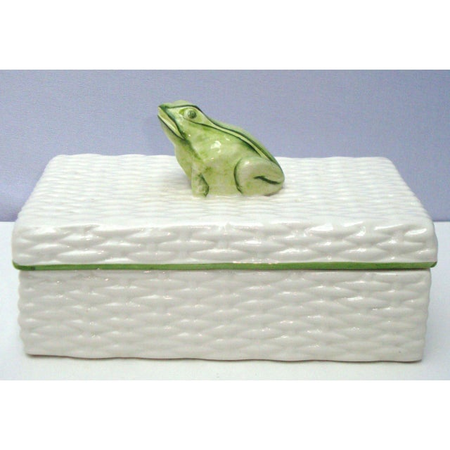 Italian Porcelain Ceramic Wicker Frog Box - Image 3 of 11