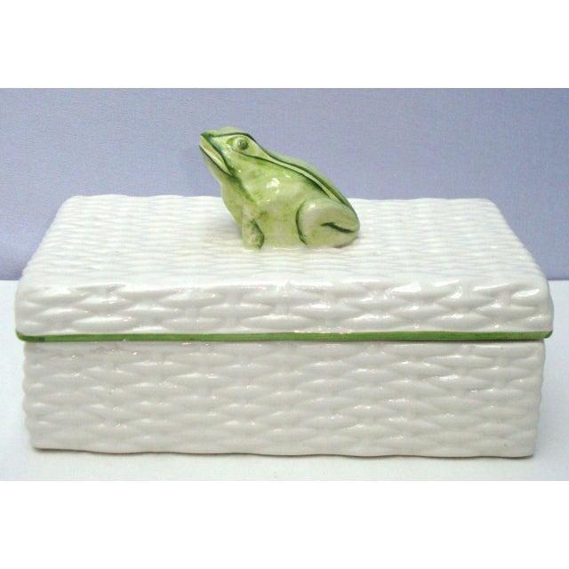 Image of Italian Porcelain Ceramic Wicker Frog Box