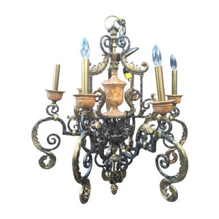 Maitland- Smith Brass Iron Chandelier With Acorns
