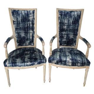 Louis XVI Style Velvet Romo Indigo Chairs - A Pair