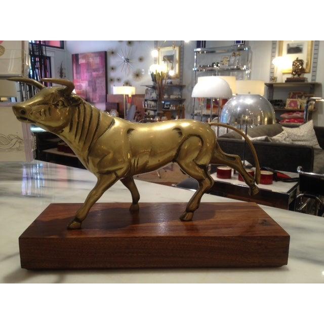 Large Brass Bull on Walnut Base - Image 3 of 3