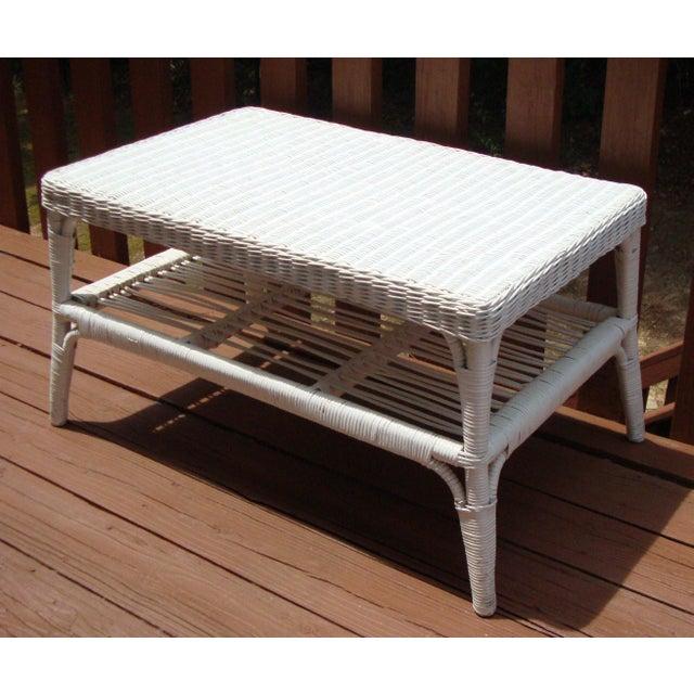 Vintage Cottage Victorian White Wicker Table Chairish