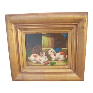 Two Bunny Rabbits Oil on Canvas