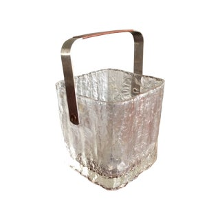 Mid-Century Frosted Glass Ice Bucket