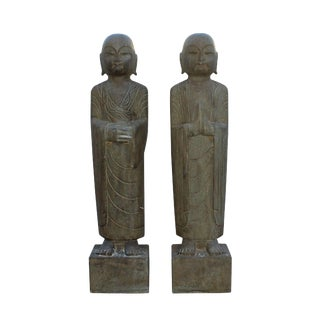 Chinese Stone Carved Standing Monk Lohon Statues - A Pair