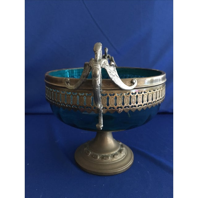 Blue Glass Compote with Dragon Handles - Image 4 of 10