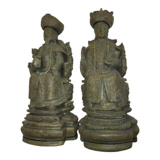 Asian Patina Chinese Royal Figurines - A Pair