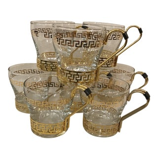 Gold Greek Key Espresso Coffee Glasses - Set of 8