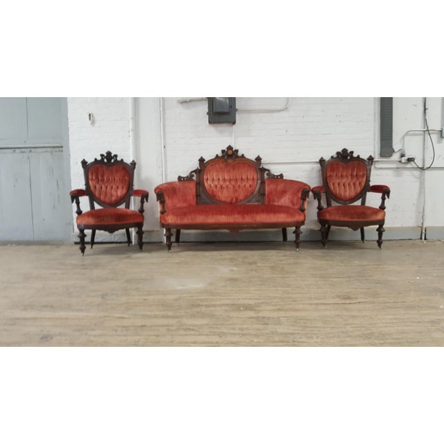 Antique Eastlake Heart-Back Red Velvet Settee & Chairs- Set of 3 - Image 9 of 9