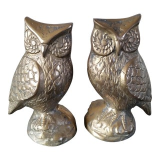 Mid-Century Brass Owl Bookends - A Pair