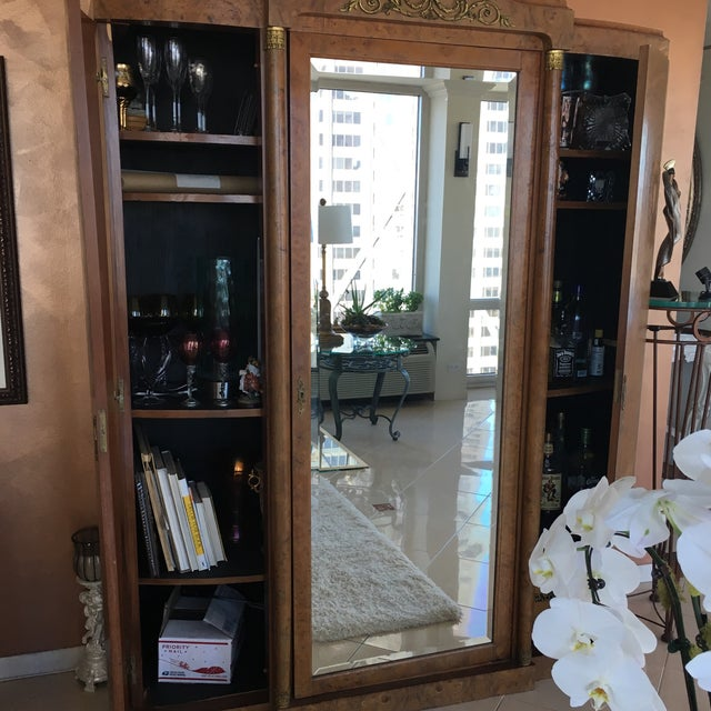 Antique French Burlwood Armoire With Mirror - Image 10 of 10