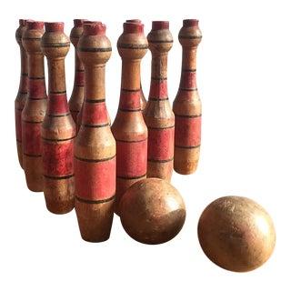 Vintage Wooden 10-Pin Bowling Set