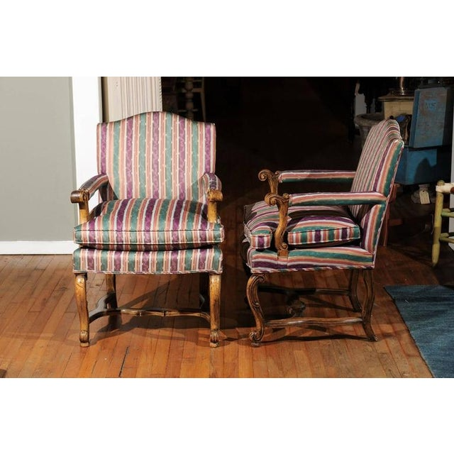 Striped Italian Bergere Chairs - A Pair - Image 5 of 6