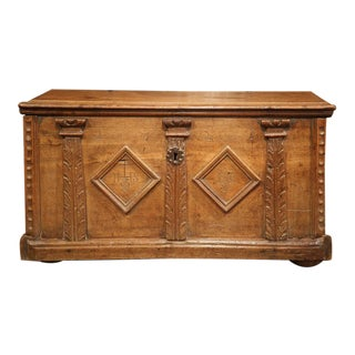 17th Century French Louis XIII Carved Walnut Blanket Chest with Diamond Design