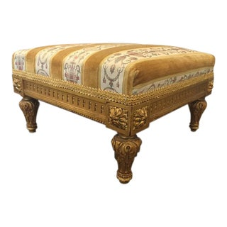 Léon Dromard 19th Century French Carved Walnut Gilt Footstool