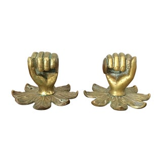 Vintage Brass Hand on Flower Door Knobs - A Pair