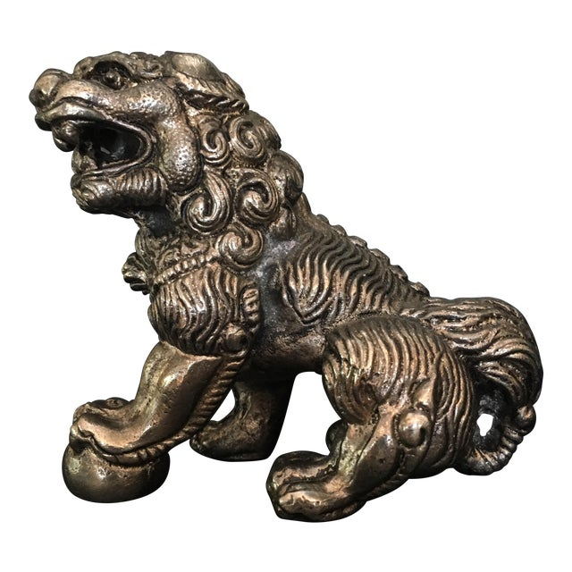 Vintage Silver Plated Foo Dog Paperweight - Image 1 of 8