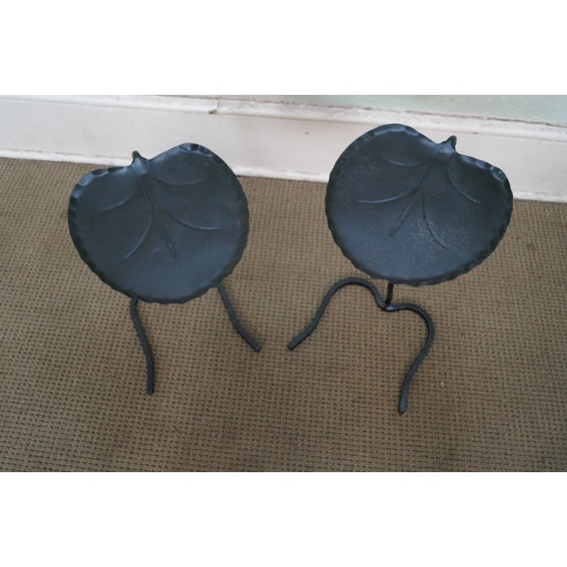 Salterini Iron Lily Pad Side Tables - Pair - Image 3 of 10
