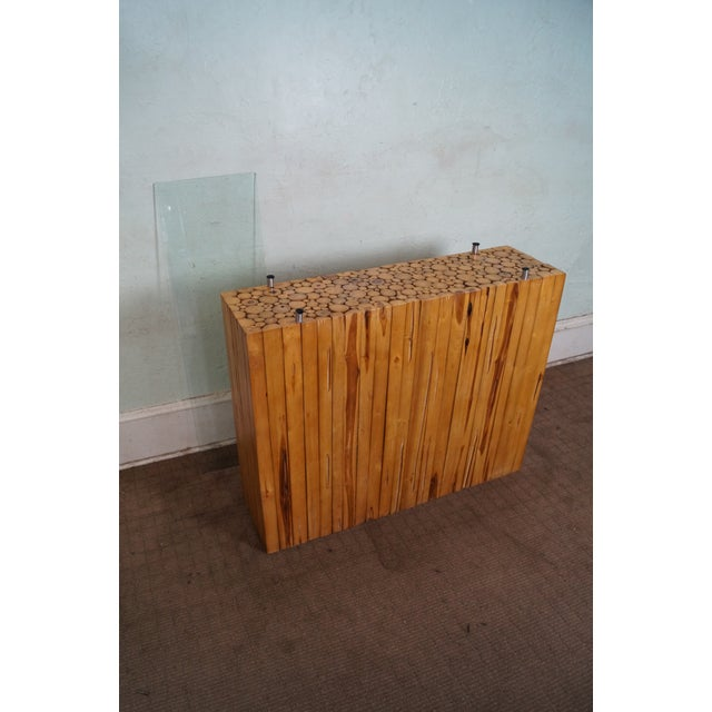 Image of Natural Cut Bamboo Console Server Table with Glass