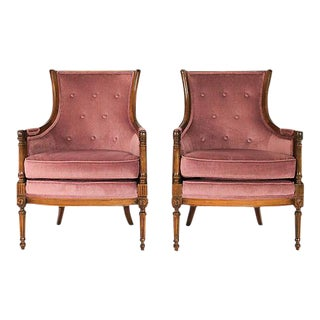 Upholstered Armchairs With Tufted Backs - A Pair