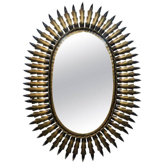 Spanish Gilt Metal Oval Sunburst Mirror - Image 1 of 3