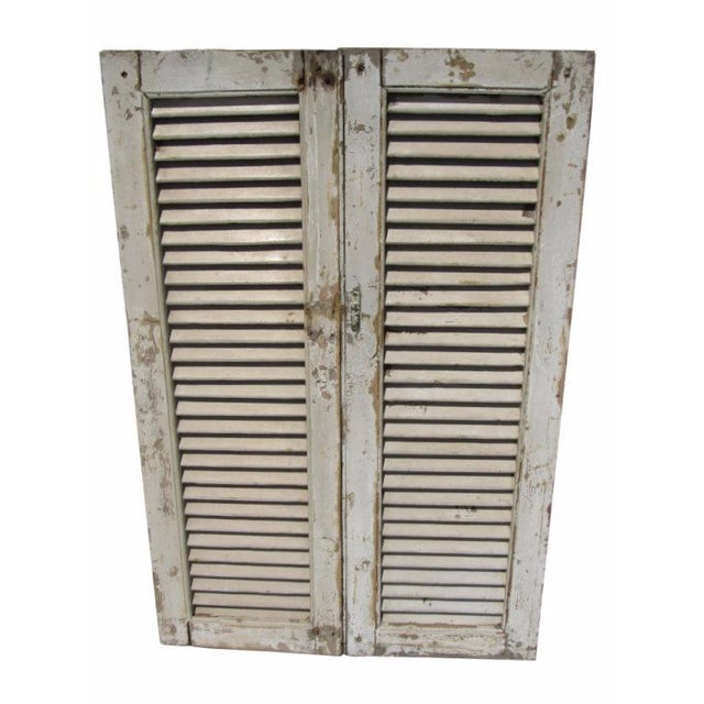 Rustic White European Louvered Shutters - A Pair - Image 1 of 5