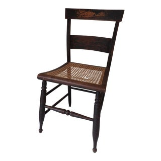 Antique Country Black Caned Chair