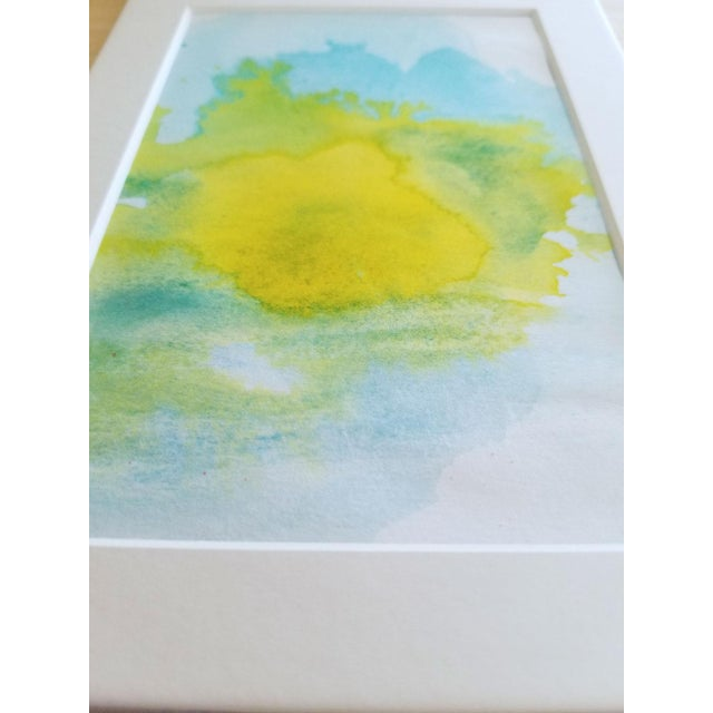 """Lemon Sun"" Modern Abstract Original Watercolor Painting - Image 2 of 5"