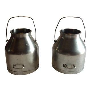 Vintage Steel Milk Cans - A Pair