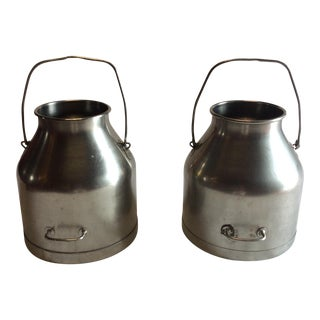 Vintage Steel Milk Cans - A Pair
