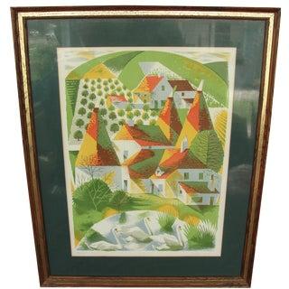 """""""Houses & Swans"""" Linocut by Carol Lander"""