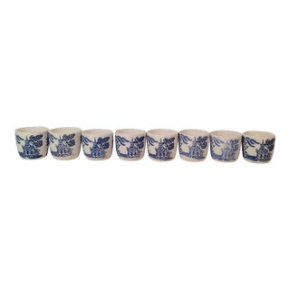 Japanese Flo Blu Saki Cups Shot Glasses - Set of 8