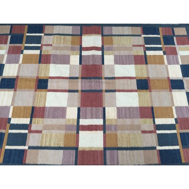 Geometric Indian Dhurrie Wool Rug - 4' x 6' - Image 2 of 8