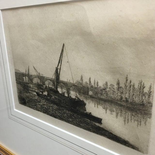 Vintage Framed Riverside Fishing Boat Etching - Image 3 of 7