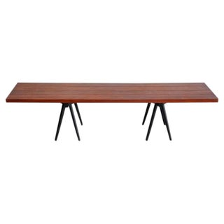 Studio Crafted Long Walnut Bench, USA, 1960s