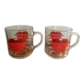 Clear Vintage Heart Mugs -- A Pair