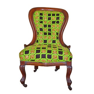 Victorian Spoon-Back Chair with African Textile