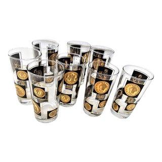 Vintage Black Gold Bar Glasses - Set of 8