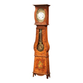19th Century French Pine Painted Comtoise Grandfather Clock from Normandy